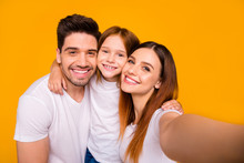 Self-portrait Of Three Nice Attractive Charming Cute Lovely Tender Sweet Kind Cheerful Cheery Glad Careful Person Cuddling Embracing Isolated Over Bright Vivid Shine Yellow Background