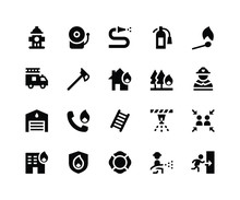 Simple Set Of Firefighter Related Vector Glyph Icons. Contains Such Icons Ashydrant, Alarm, Hose, Extinguisher And More. Pixel Perfect Vector Icons Based On 32px Grid. Well Organized And Layered