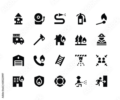 Simple Set of Firefighter Related Vector Glyph Icons. Contains such Icons ashydrant, alarm, hose, extinguisher and More. pixel perfect vector icons based on 32px grid. Well Organized and Layered Wall mural