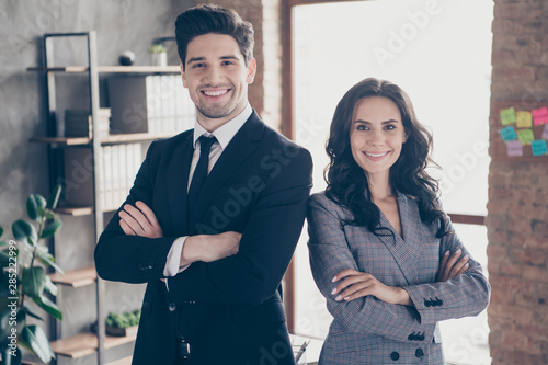 Photo of two partners crossing arms meeting investors in new workshop office dressed formal wear suits