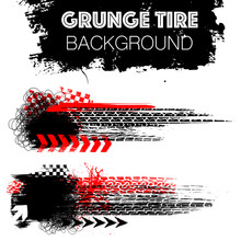 Two Grunge Elements With Black And Red Tire Tracks Isolated On White Background