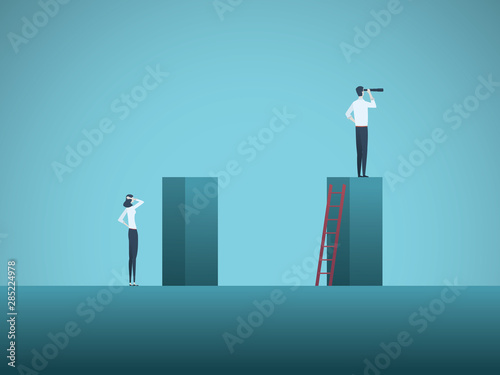 Fotografía  Inequality in corporate business vector concept with businessman and businesswoman