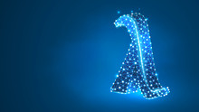 Lambda, The Letter Of A Greek Alphabet. Greek Numerals, Mathematical Number Thirty Concept. Abstract, Digital, Wireframe, Low Poly Mesh, Vector Blue Neon 3d Illustration. Triangle, Line, Dot