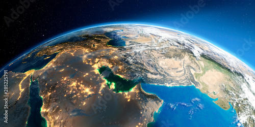 Detailed Earth. Persian Gulf countries Canvas Print