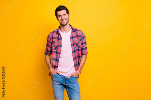 Fotomural  Photo of rejoicing guy who just enjoys his life and feels careless and carefree