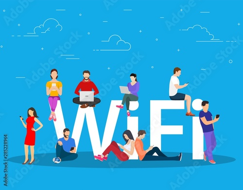 Photo Wi fi giant letters and people