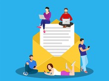 Symbol Newsletter Concept. People Using Mobile Gadgets Such As Tablet Pc And Smartphone For E Mails And Newsletter. Vector Illustration In Flat Style