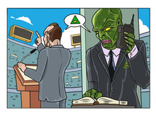 A Reptilian Dictating The Speech To A Dogmatic Politician In A Crowded Stadium. Vector Illustration