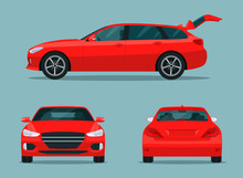 Red Station Wagon Car Set. Car With Side View, Back View And Front View.  Vector Flat Style Illustration.