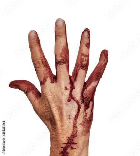 Fényképezés  Bloody hand, isolated on white. Female. Halloween etc.