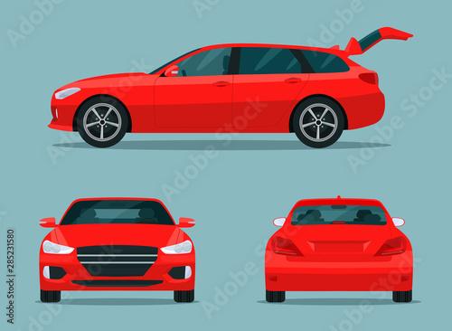 Obraz na plátně Red station wagon car set
