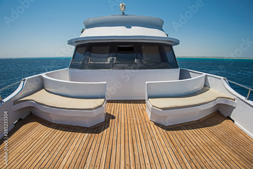 View over the bow over a large motor yacht Fototapeta