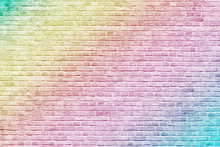 Colorful Rainbow Brick Wall Background
