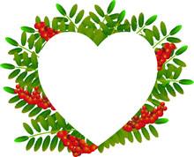 Rowan Berries & Leaves Heart Shaped Frame, White Background