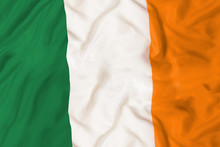 Ireland National Flag With Wav...