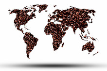 World Map With Coffee Beans Ba...
