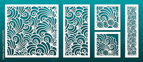 Photo Laser cut template pattern, vector set