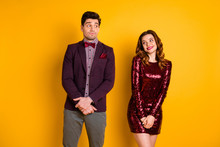 Portrait Of His He Her She Nice-looking Well-dressed Attractive Lovely Glamorous Fascinating Cheerful Confused People Meeting First Time Isolated Over Bright Vivid Shine Yellow Background