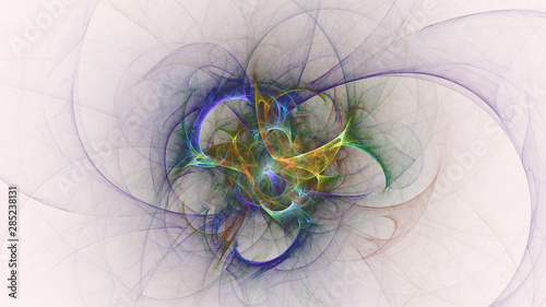 3D rendering abstract white fractal light background - 285238131