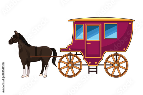 Leinwand Poster Antique horse carriage animal tractor