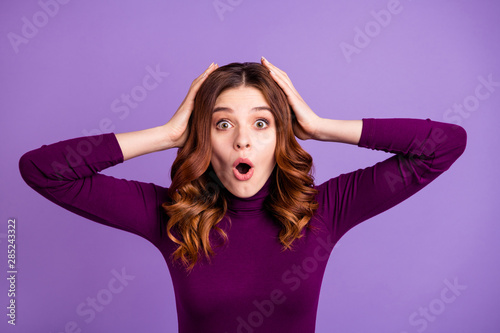 Fototapeta Close-up portrait of her she nice-looking attractive lovely stunned wavy-haired