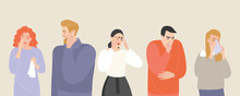 Set Of Vector Illustrations Of People Suffering From Various Symptoms Of The Common Cold And Flu.