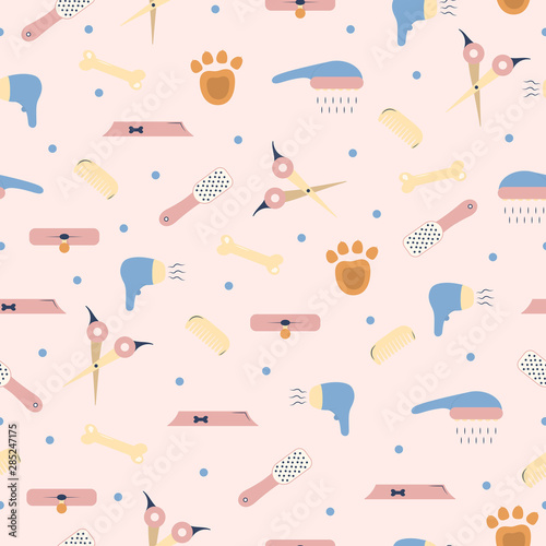 obraz lub plakat Pet shop seamless pattern. Vector background for dog grooming. Template for veterinary store design.