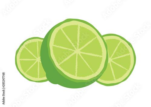 Fotografie, Obraz  Sliced green lime icon vector