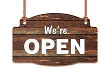 Text Of We're Open In Rope Wooden Hanging Sign