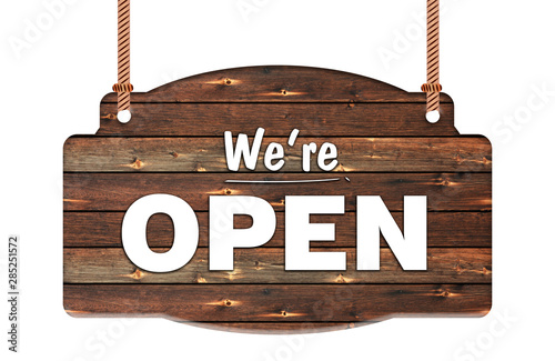 Fotomural Text of we're open in Rope wooden hanging sign
