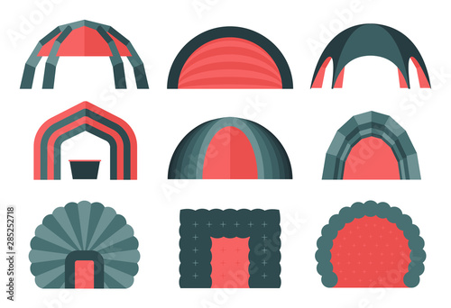 Fototapeta Set of various designs of inflatable tents for various purposes. Inflatable tent for event and for outdoor celebrations. Simple and lovable vector illustrations. obraz