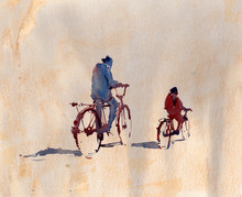 Bicycle In Watercolor Painting...