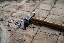 Crime Scene With Hammer On Dirty Floor Weapon Of Killing And White Chalk Outline Of Murdered Body With Blood