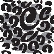 Monochrome Leopard Pattern Design. Seamless Leopard Print Pattern Design, Vector Illustration Background. Fur Animal Skin Design Illustration For  Fashion, Textile, Print