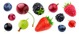 Berries collection isolated on white background with clipping path