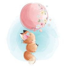 Cute Fox Flying With Flowery Balloon