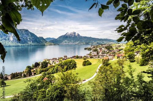 Stampa su Tela Weggis, Pilatus, Lake Lucerne, Vierwaldstättersee, Schweiz