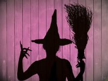 Witch Shadow, Purple Halloween Background