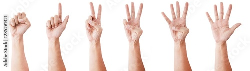 Stampa su Tela  Male asian hand gestures isolated over the white background