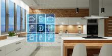 Moderne Küche Mit Smart Home Technologie Interface