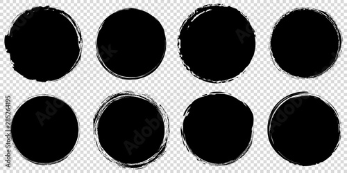 set of black round banners - brush painted circle on transparent background Canvas Print