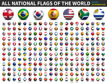 All National Flags Of The World . 3D Spherical Ball Design . Vector .