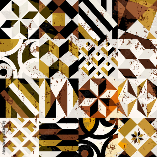 abstract geometric background pattern, with strokes and splashes, grungy style
