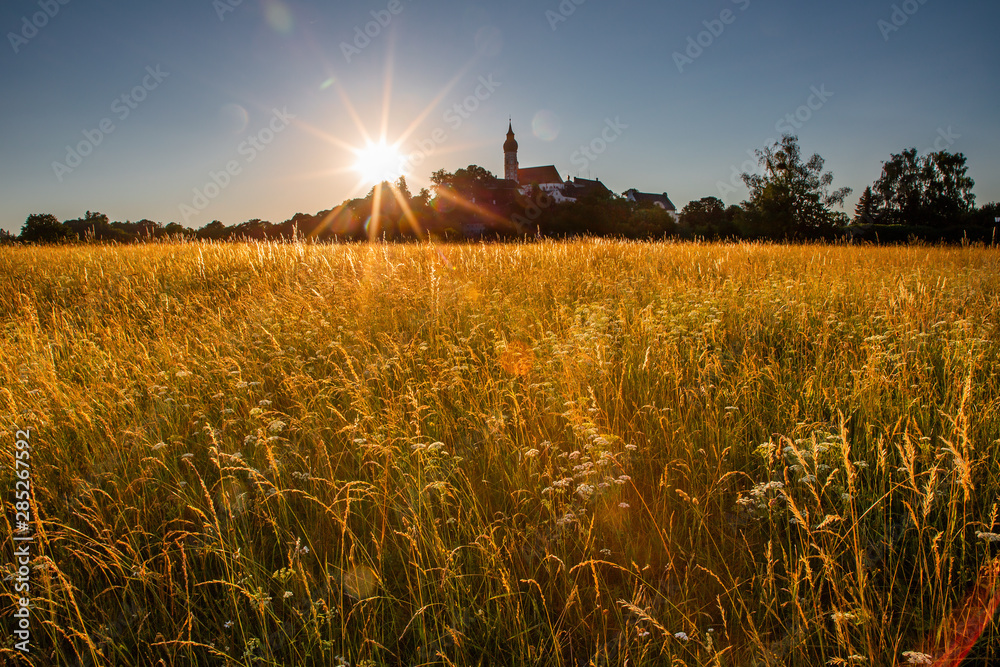 Fototapety, obrazy: Kloster Andechs bei Sonnenuntergang