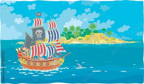 Treasure island and a sea pirate sailing ship with guns and a black flag of Joll Wallpaper Mural