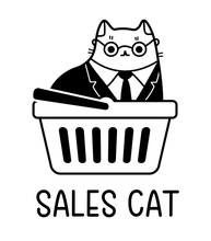 A Cartoon Vector Drawing Of Cat Dressed In A Business Suit Sitting In A Shopping Cart Wearing Glasses