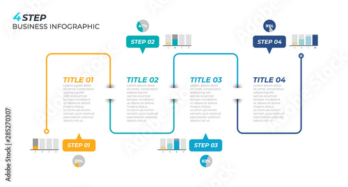 Fotografia  Thin line minimal infographic design template with business process step and 4 options