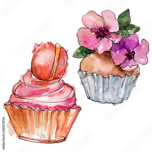 Tasty cupcake in a watercolor style Canvas Print