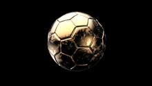 Golden Soccer Metal Ball Isolated On Black Background. Football 3d Render