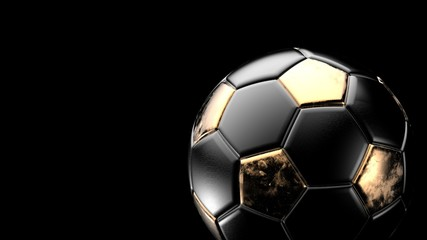 Golden and black soccer metal ball isolated on black background. Football 3d render